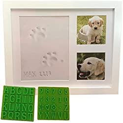 Ultimate Dog or Cat Pet Pawprint Keepsake Kit & Picture Frame - Premium Wooden Photo Frame, Clay Mold for Paw Print & Free Bonus Stencil. Makes a Personalized Gift for Pet Lovers and Memorials.