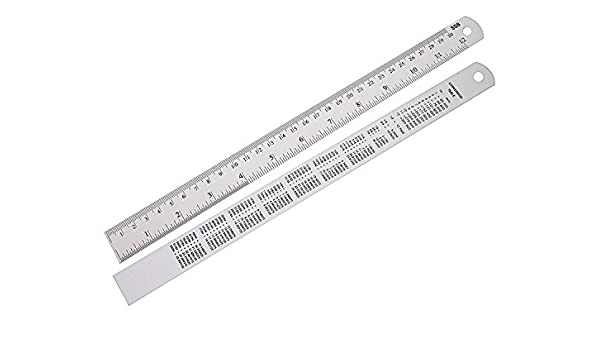 drwritting Metal de aluminio de 12 pulgadas regla Pack de 2 Bulk estacionaria Kit de herramientas Set para niños escuela aula oficina hogar arte diseño dibujo ...