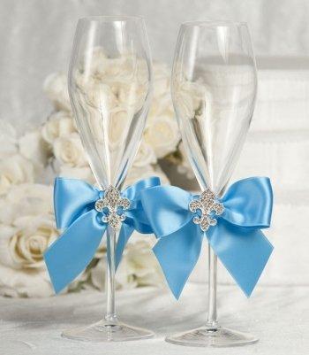 Crystal Fleur de Lis Ribbon Toasting Glasses- Custom Colors!: Ribbon Color: Black