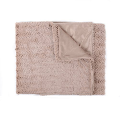 Sweet Home Collection Harper Decorative Reversible Faux Fur and Mink Throw Blanket, 50 x 60