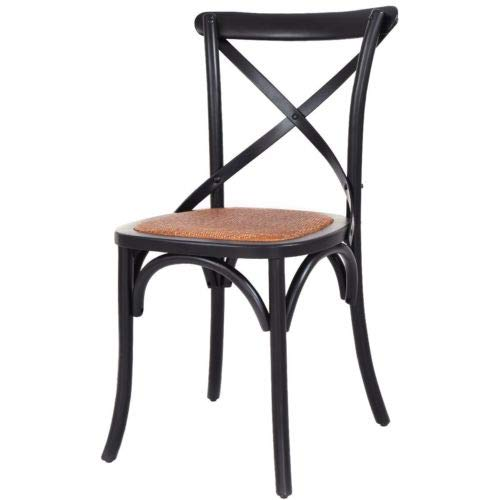AK Energy Home Office Black Cross Back Canteen Dining Side Chair Oak Rattan Seat Comfortable