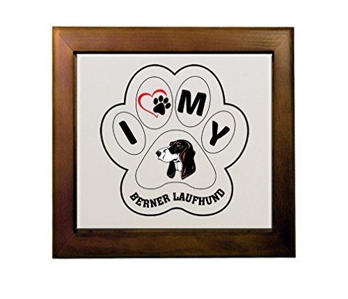 Price comparison product image BERNER LAUFHUND DOG I PAW MY Ceramic Tile in Wood Frame