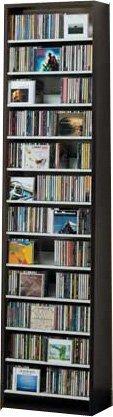 540枚収納 CD屋さんのCD/DVDラック 幅48.5cm インデックスプレート10枚付き(ダークブラウン D)   B006JFG10S