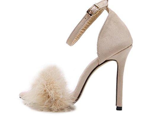 Piume YCMDM delle donne degli alti talloni dei sandali pattini romani albicocca Vino Rosso Rosa Nero 39 36 35 38 37 40 , apricot , 39