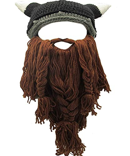Flyou Adult Viking Beard Beanie Horn Hat Winter Warm Mask Hat Knitted Wool Funny Skull Cap (Horn-Brown)