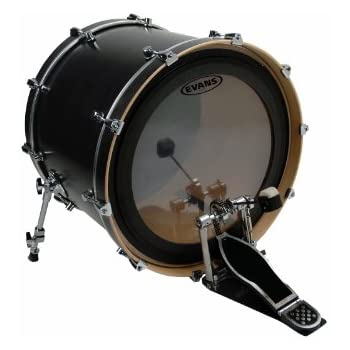 evans emad2 clear bass drum head 26 externally mounted adjustable damping system