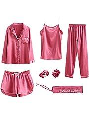 Women Pajama Sets 7pcs Hair Band and Hair Ties Short and Long Sets Sleepwear Ladies Size L