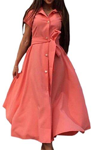 Jaycargogo Femmes Court Bouton Manches Avant Robe Longue Chemise Maxi Avec Ceinture Orange,