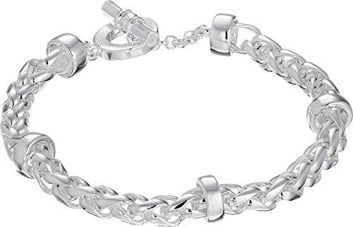 LAUREN Ralph Lauren Women's Braided Chain Bracelet Silver One - Lauren Silver