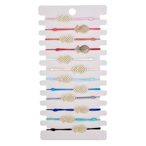 TILLY ANDERSON Fashion Silver Color Bracelets Bangles Adjustable Beads Shell Charm Bracelets for Women Handmade Jewelry 12 Pcs/Set,D ()