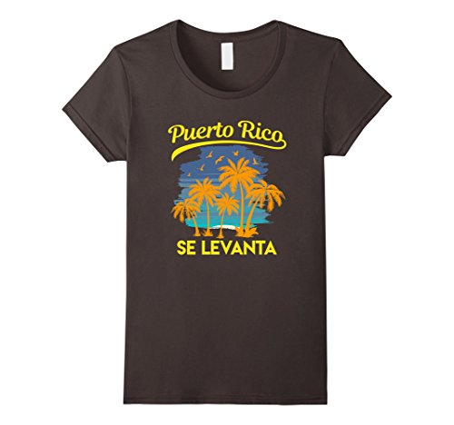 Womens Puerto Rico Se Levanta Palm Tree Sunset Beach Boricua Shirt Medium Asphalt