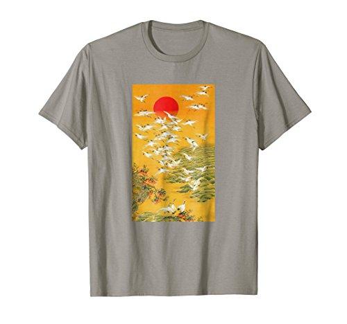 Japanese Crane T-Shirt Vintage Hokusai Woodblock (Wood Asian Print)