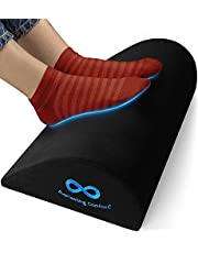 Everlasting Comfort Office Foot Rest for Under Desk - Ergonomic Memory Foam Foot Stool Pillow for Work, Gaming, Computer, Office Cubicle and Home - Footrest Leg Cushion Accessories (Black)