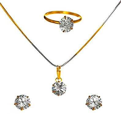 Buy kaayra jewellery combo of designer traditional diamond solitaire kaayra jewellery combo of designer traditional diamond solitaire pendant with chain earrings and rings for aloadofball Images