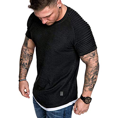 Casual T-Shirt for Mens Short Sleeve Slim Fit Top Summer Boy O-Neck Pleats Raglan Cotton -