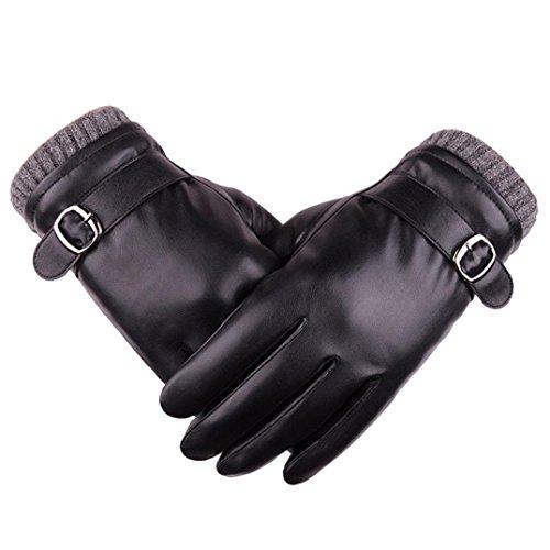AutumnFall Fashion Men Winter Warm Motorcycle Ski Snow Snowboard Leather Gloves (Black)