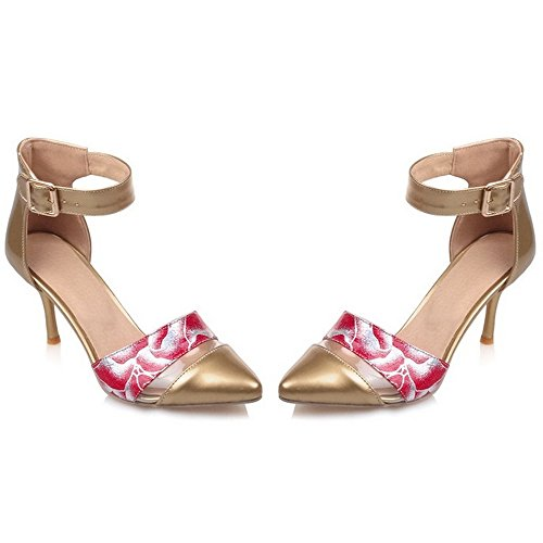 LongFengMa Women's Stiletto Ankle Strap High Heels Sandals Flower Printing Gold XlHdwcyhY