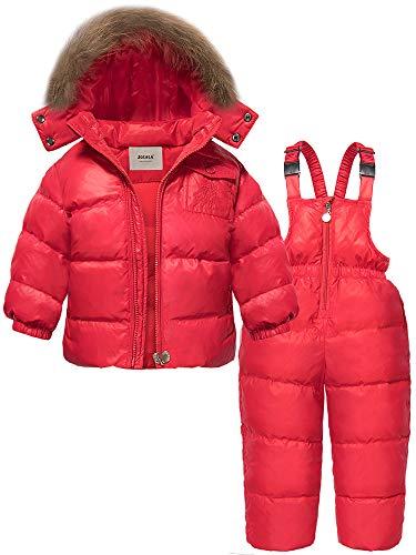 - ZOEREA 2 Piece Unisex Kids Girls Snowsuit Hooded Puffer Jacket Snow Pants Red, Label L/Age 2-3T