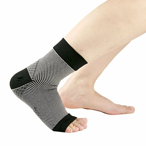 Compression VENI Fasciitis Black 1 MASEE Unisex pair Plantar of socks Ankle pack Support Sleeve taaAF