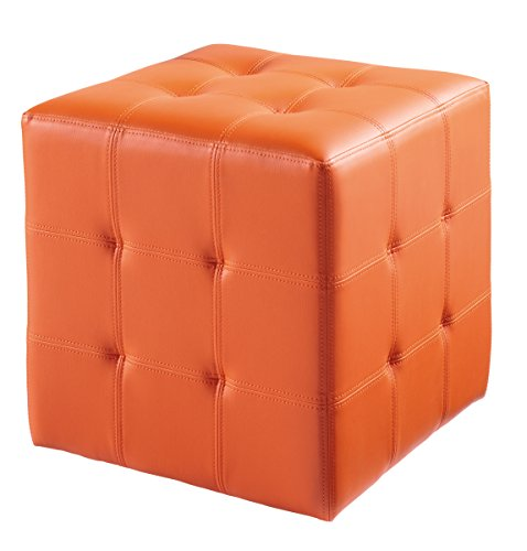 Sunpan Modern Dario Ottoman, Orange For Sale
