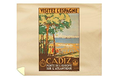 Cadiz - Visitez l'Espagne Vintage Poster (artist: de Castro) Spain c. 1929 (88x104 King Microfiber Duvet Cover) by Lantern Press