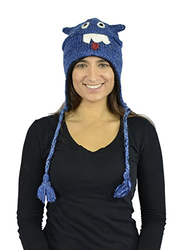 Belle Donne - Unisex Animal Hats - 100% Wool Nepal Pom Pom Nepal-6 Blue Monster