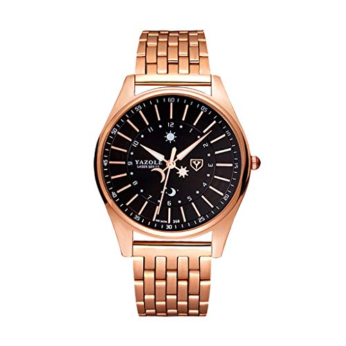 Pengy Watch Sun and Moon Pointer Steel Belt Quartz Watch for Men's and Women Luxury Wrist Watches]()