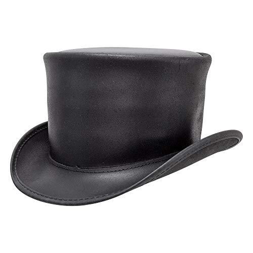 Leather Dorado - Voodoo Hatter El Dorado-Unbanded by American Hat Makers Leather Top Hat, Black Finished-Unbanded - X-Large