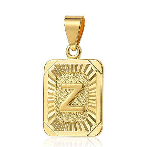 - Trendsmax Mens Womens Yellow Gold Plated Square Capital Letter Z Pendant Only No Chain