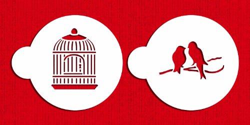 Stencil Love Bird - Designer Stencils C587 Love Birds Cookie Stencil Set, Beige/semi-transparent