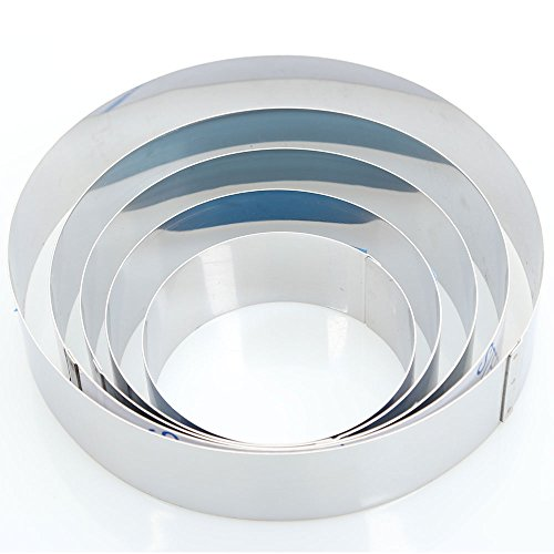 Hanason Stainless Steel Rings Round Molding Plating Forming Cake Mousse Rings 5pcs