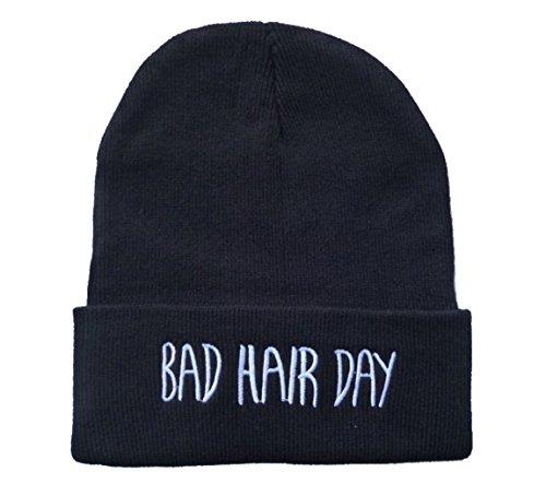 E-SHINE CO nuevo negro Bad Hair Day bordado Beanie cráneo tapa sombrero de hip hop