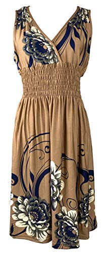 - Vibrant V-Neck Knee Length Dress - Assorted Styles Plus & Regular Sizes Eastern Floral Taupe l