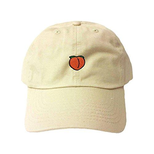 Adjustable Khaki Adult Peach Emoji Embroidered Dad Hat