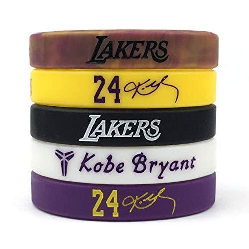 Basketball Authentic Kobe Inspirational Signature Motivation Wristbands Sport Silicone Bracelet (5 Pack)