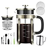 TAIKER French Press Coffee/Tea Maker (34 oz,8 cups) Heat Resistant Glass Stainless Steel Frame with Milk Frother,7 oz Frothing Pitcher,2 Stirring Spoon,2 Clean Brush & 2 Filter Screens (Bronze)