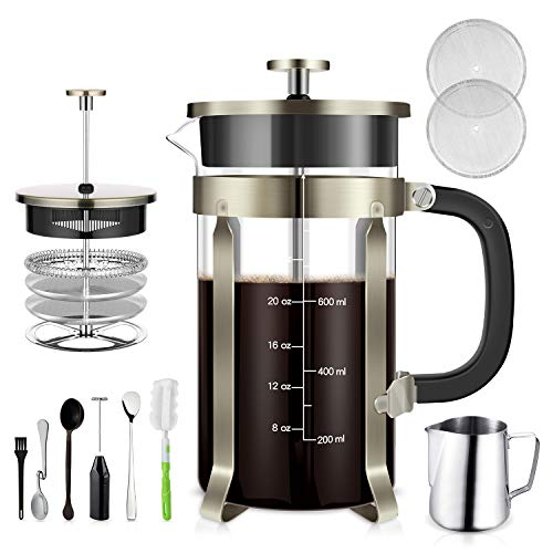 (TAIKER French Press Coffee/Tea Maker (34 oz,8 cups) Heat Resistant Glass Stainless Steel Frame with Milk Frother,7 oz Frothing Pitcher,2 Stirring Spoon,2 Clean Brush & 2 Filter Screens (Bronze))