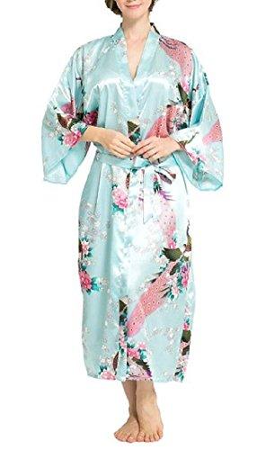 - SexyTown Women's Long Floral Peacock Kimono Robe Satin Nightwear with Pockets X-Large Aqua