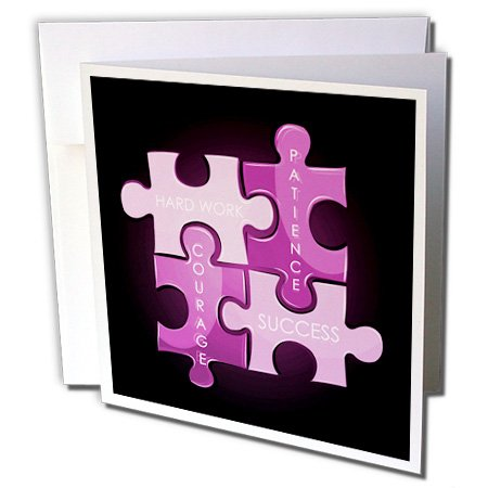 12 Piece Greeting Card (3dRose Greeting Cards, 6 x 6 Inches, Pack of 12, Four Puzzle Pieces in Purple (gc_159126_2))