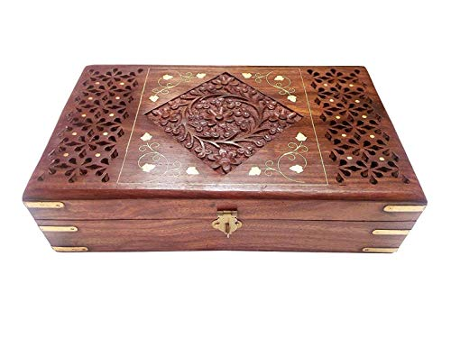Swara Online Wooden Jewelry Box for Women Jewel Organizer Hand Carved with Jali-Brass-Carved Design - 10 Inches Makeup, Jewelry & Other Utility Vanity Box(Brown) (10 6)