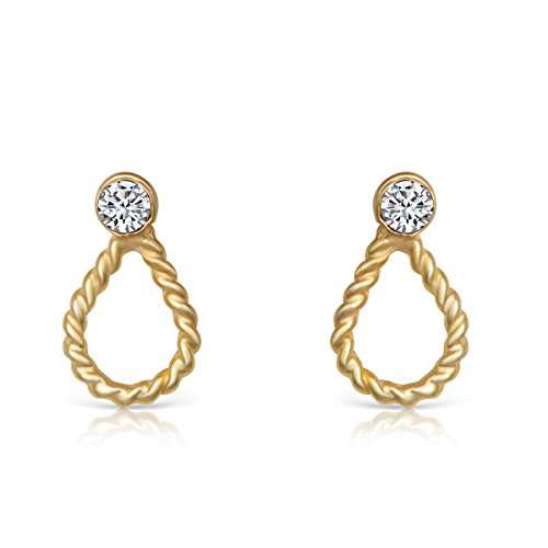 14K Yellow Gold Plated Sterling Crystal Twisted Design Teardrop Dainty Small Stud Earrings 14k Yellow Twisted Design