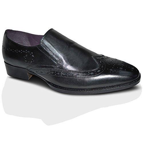 Gucinari Pour Hommes 100% Cuir Brogue Habillé Affaires Chaussures Sans Lacets - Noir, Homme, 39 EU