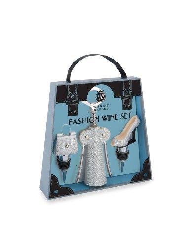 Fashion Wine Set - Silver Glitter