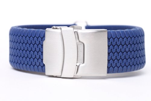 24mm High Quality Blue Silicone Rubber Sport Diver Watch Band Strap rs2405