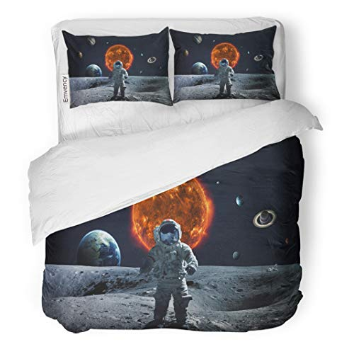 Semtomn Decor Duvet Cover Set King Size Planet Solar System and Space of This Furnished by NASA Astronaut 3 Piece Brushed Microfiber Fabric Print Bedding Set Cover ()