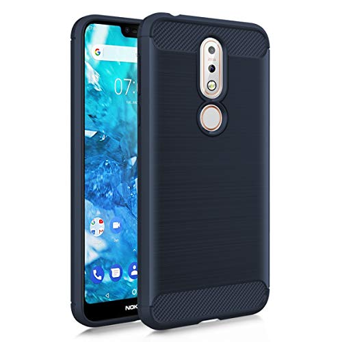 MMDcase for Nokia 7.1 Case, Shockproof Carbon Fiber Brushed Texture Soft Flexible TPU Full-Body Protective Anti-Slip Anti-Scratch Phone Cover Case for Nokia 7.1 (2018), Navy