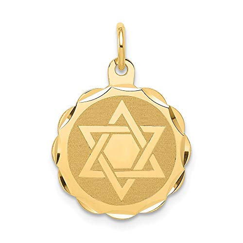 14k Yellow Gold Solid Jewish Jewelry Star Of David Disc Pendant Charm Necklace Religious Judaica Fine Jewelry Gifts For Women For Her