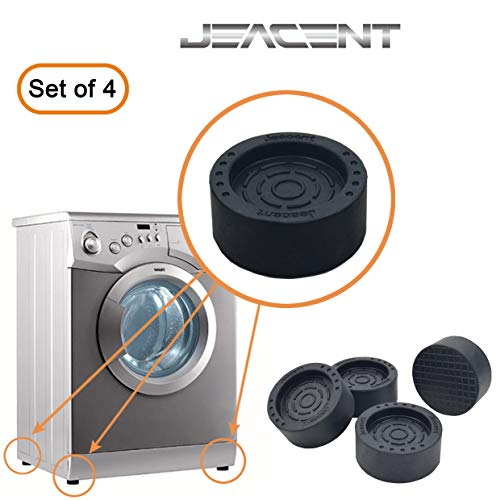 Anti-Vibration and Anti-Walk Pads for Washer and Dryer, Furniture Anti Slide Feet, Rubber Pads for Washing Machine, Refrigerator, Wardrobe - 4 Pack, Black