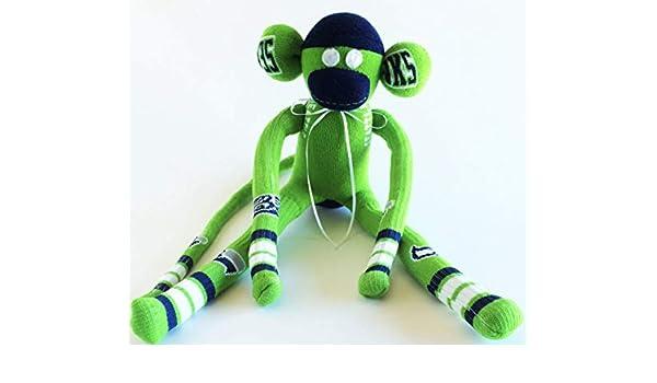 Washington Seahawk Monkey NFL National Football League Seattle Seahawks Themed Sock Monkey Green Sock Monkey Football Sock Monkey