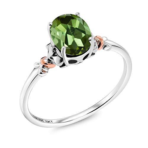 Gem Stone King 0.70 Ct Oval Green Tourmaline 925 Sterling Silver Ring (Size 7)